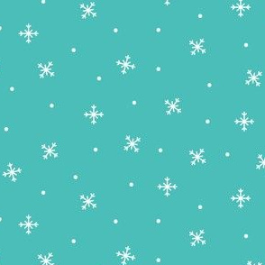 snowy flakes teal :: cheeky christmas