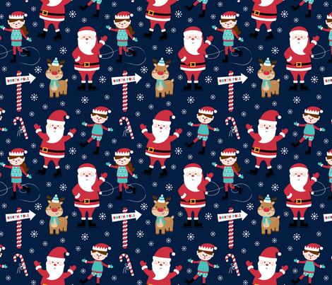 ice skaters on navy blue :: cheeky christmas fabric by misstiina on Spoonflower - custom fabric