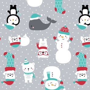 snow cuties on grey :: cheeky christmas