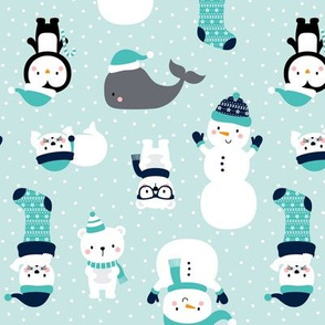 snow cuties on light teal :: cheeky christmas