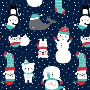 snow cuties on navy blue :: cheeky christmas