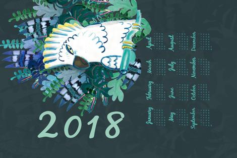 jungle 2018 tea towel calendar fabric by pixabo on Spoonflower - custom fabric
