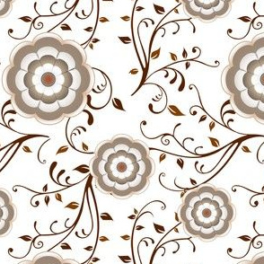 Fabrique Floral Orange and Brown