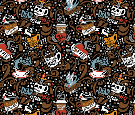 Brewed and Tattooed  fabric by cynthiafrenette on Spoonflower - custom fabric