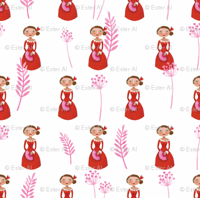 Spanish lady in red and pink