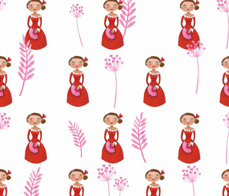 Spanish lady in red and pink fabric by esteral on Spoonflower - custom fabric