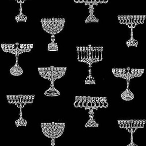 Menorah Toile de Jouy, White on Black
