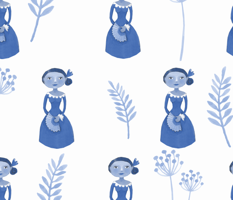 dametjes_in_blauw fabric by esteral on Spoonflower - custom fabric