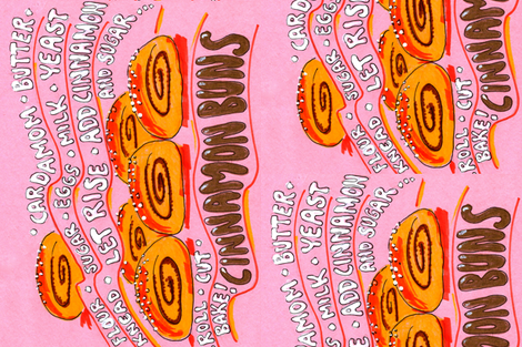 Finnish Cinnamon Buns Tea Towel fabric by hot_office on Spoonflower - custom fabric