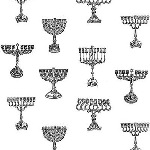 Menorah Toile de Jouy, Black on White