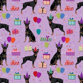 Miniature Doberman Pinscher birthday party presents dog breed fabric purple