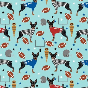 Miniature Doberman Pinscher dog football sports fabric blue