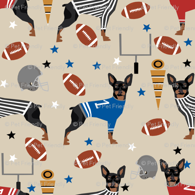 Miniature Doberman Pinscher dog football sports fabric tan
