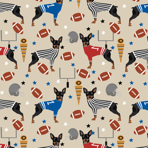 Miniature Doberman Pinscher dog football sports fabric tan fabric by petfriendly on Spoonflower - custom fabric