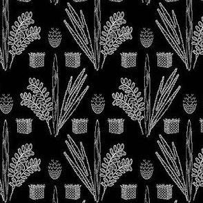 Sukkot Toile de Jouy, White on Black