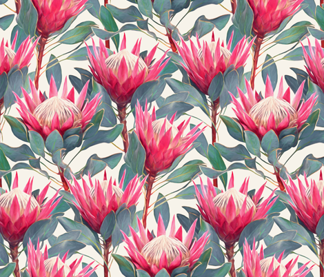 Painted King Proteas - hot pink on cream LARGE fabric by micklyn on Spoonflower - custom fabric