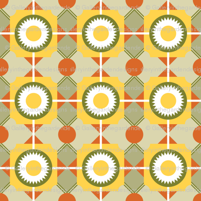 Soviet Era Arts and Crafts Style Geometrics in Red, Olive and Marigold, Ukranian Easter Egg Style