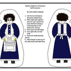 Colonial Beatrice Maid For All Seasons Cut and Sew Doll