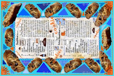 mom's mandelbrot cookies tea towel, blue and orange