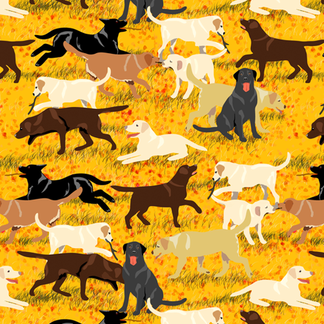Labradors Are Fetching More In Autumn Fabric Eclectic_house Spoonflower