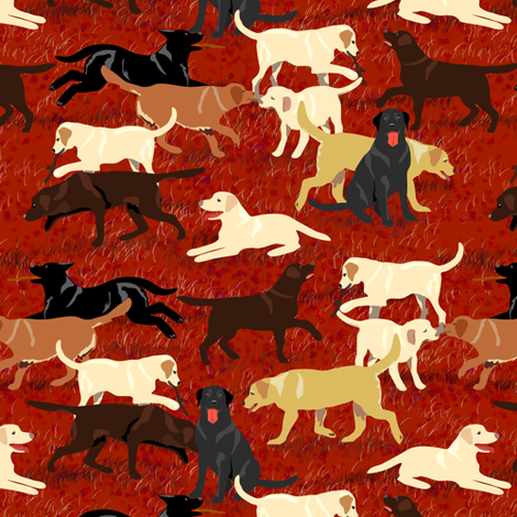 Custom Labradors Are Fetching More Red Fabric By Eclectic_house On Spoonflower Custom Fabric