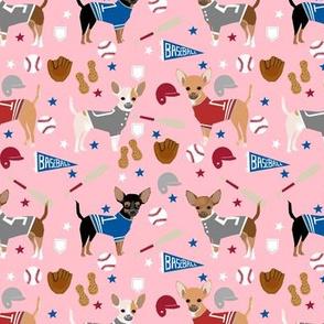 Chihuahua dog breed sports fabric baseball theme pink