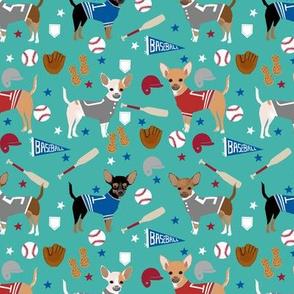 Chihuahua dog breed sports fabric baseball theme turquoise