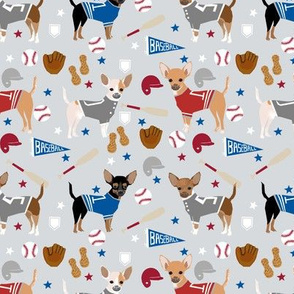 Chihuahua dog breed sports fabric baseball theme grey