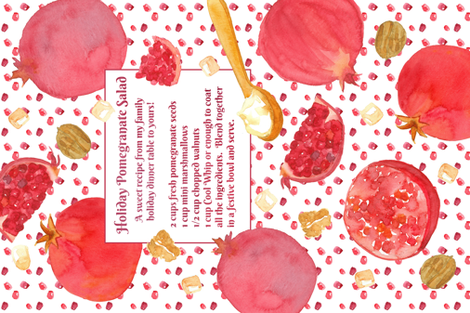Holiday Pomegranate Salad Recipe fabric by countrygarden on Spoonflower - custom fabric