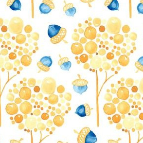 Watercolor Fall Trees Acorns  || Yellow gold blue orange autumn _ Miss Chiff Designs