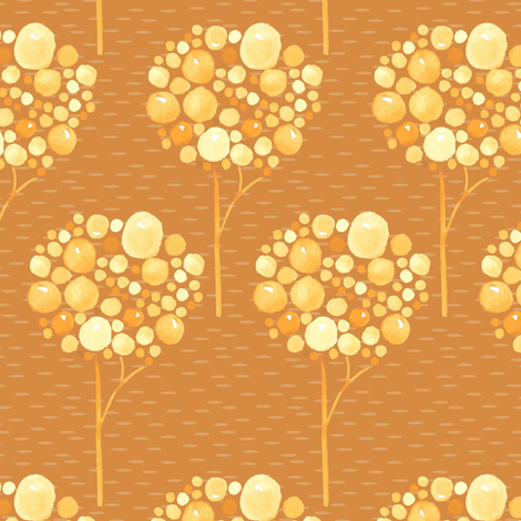 Watercolor Trees Gold Yellow Orange Brown  Fall Autumn Spots dots drops bubbles Abstract _ Miss Chiff Designs fabric by misschiffdesigns on Spoonflower - custom fabric