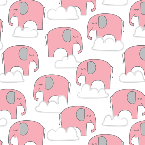 pink elephants-and-clouds fabric by lilcubby on Spoonflower - custom fabric
