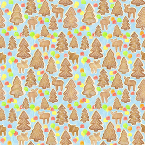 Gingerbread Woodland with Lollipops and Gumdrops on Blue