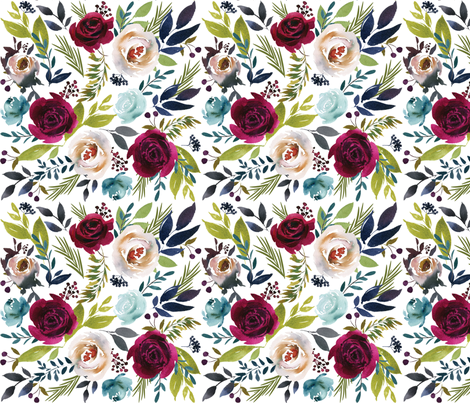 Lia Griffith Floral Watercolor fabric by liagriffith on Spoonflower - custom fabric
