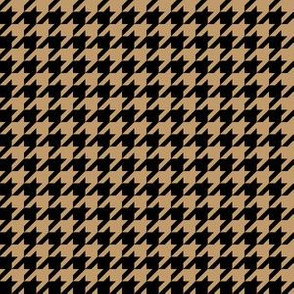Half Inch Camel Brown and Black Houndstooth Check