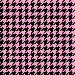 Half Inch Carnation Pink and Black Houndstooth Check