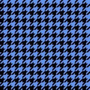 Half Inch Cornflower Blue and Black Houndstooth Check