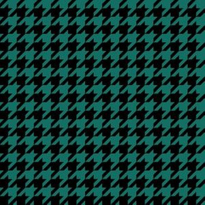 Half Inch Cyan Turquoise Blue and Black Houndstooth Check