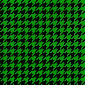 Half Inch Christmas Green and Black Houndstooth Check