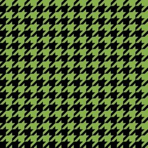 Half Inch Greenery Green and Black Houndstooth Check