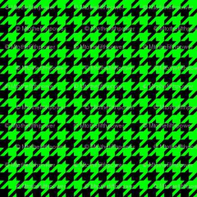 Half Inch Lime Green and Black Houndstooth Check