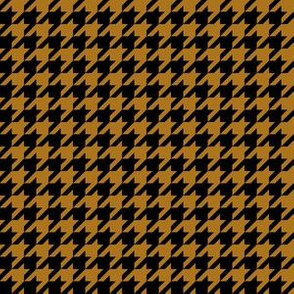 Half Inch Matte Antique Gold and Black Houndstooth Check