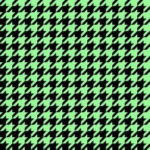 Half Inch Mint Green and Black Houndstooth Check