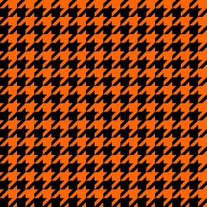 Half Inch Orange and Black Houndstooth Check
