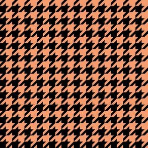 Half Inch Peach and Black Houndstooth Check