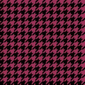 Half Inch Sangria Pink and Black Houndstooth Check