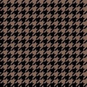 Half Inch Taupe Brown and Black Houndstooth Check