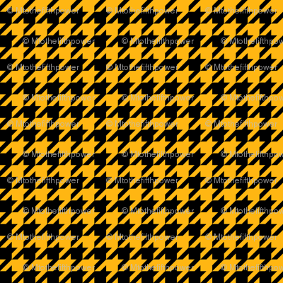 Half Inch Yellow Gold and Black Houndstooth Check