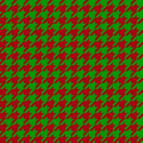 Half Inch Dark Red and Christmas Green Houndstooth Check