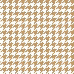 Half Inch Camel Brown and White Houndstooth Check